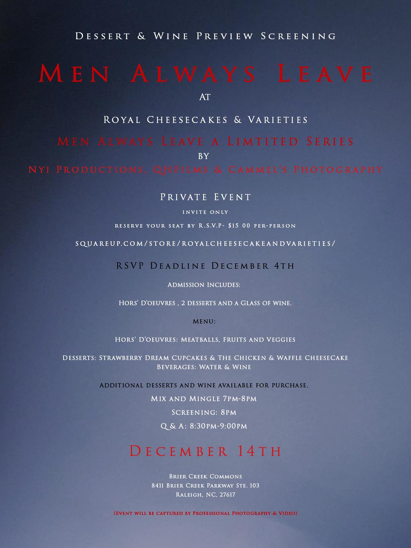Dessert & Wine Preview Screening of Men Always Leave at Royal Cheesecakes & Varieties